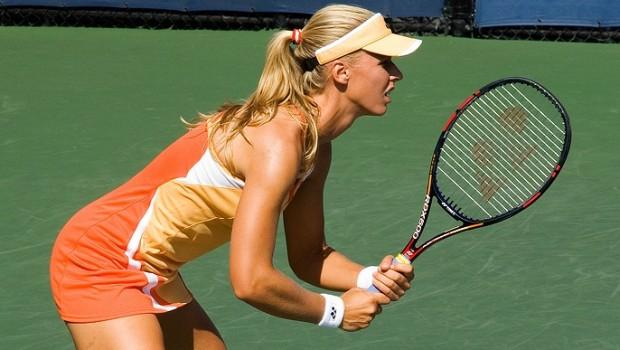 Elena Dementieva prepares to return a serve at the US Open