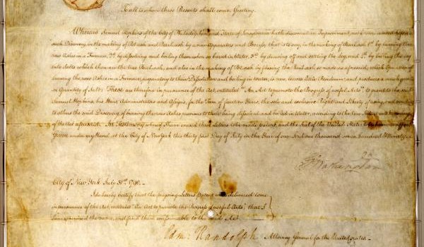 The first ever U.S. patent.