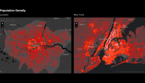 Population density of London and New York