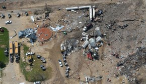 The site of a fertilizer plant explosion in West, Texas. The explosion spurred an investigation into the quality of U.S. chemical accident data.