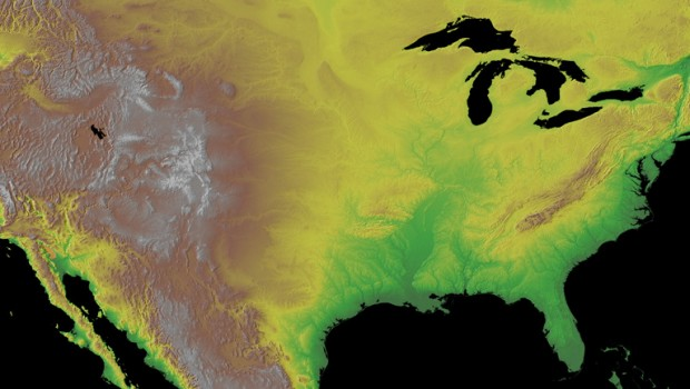 A NOAA topographical map of the continental United States.