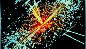 A visualization of CERN data depicting a Higgs Boson
