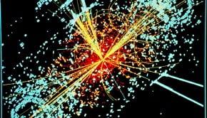 A visualization of CERN data depicting a Higgs Boson