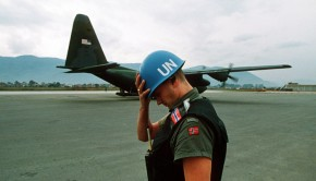 A U.N. peacekeeper during the Siege of Sarajevo