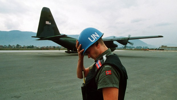 A U.N. peacekeeper during the Siege of Sarajevo