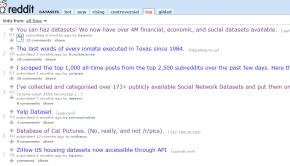 The /r/Datasets subreddit