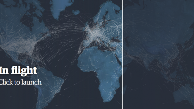A Guardian visualization showing international air travel.