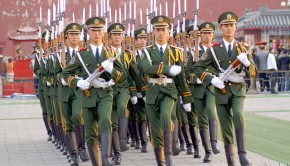 Chinese soldiers march in the Forbidden City.