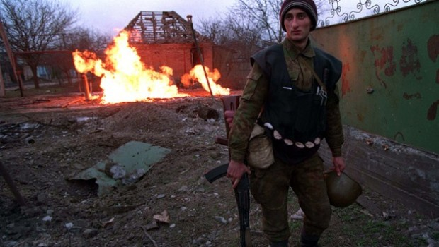 A Chechen fighter during the battle for Grozny.