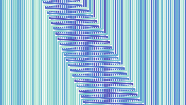 A sorting algorithm, as visualized by D3.js creator Mike Bostock.