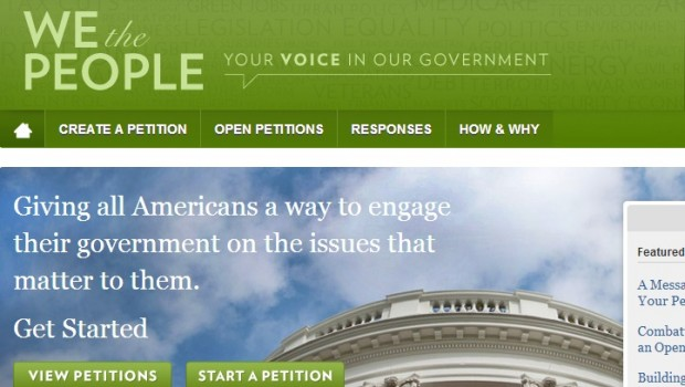 The White House's petition platform has an application programming interface (API)