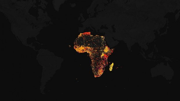 A map of English Wikipedia pages geotagged in Africa.