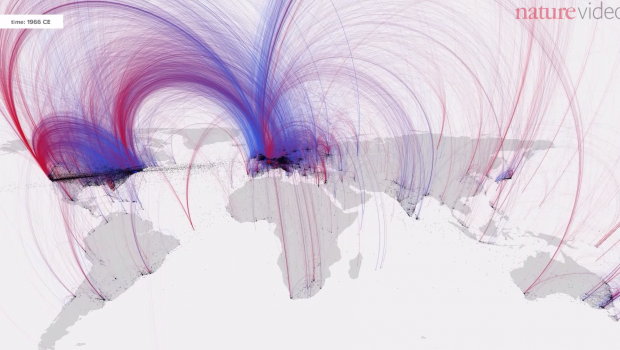 A visualization maps notable historic figures' birth and death locations to reveal migration patterns.