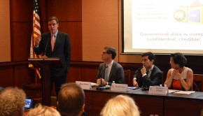Senator Mark Warner speaks at the event,