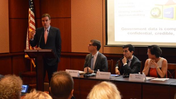 Senator Mark Warner speaks at the event,