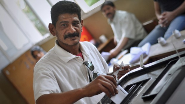 A man votes in Egypt's presidential election.