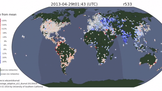 Researchers mapped how Internet activity fluctuates over the course of a day.