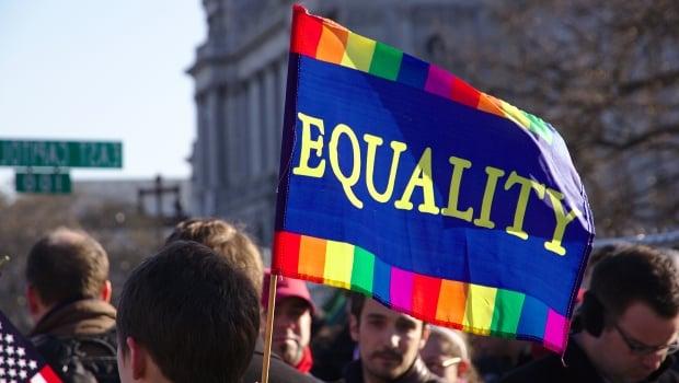 Equality sign at rally
