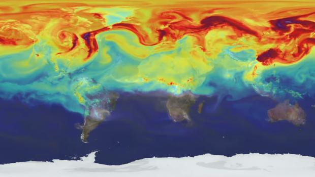 A visualization of global carbon dioxide levels.