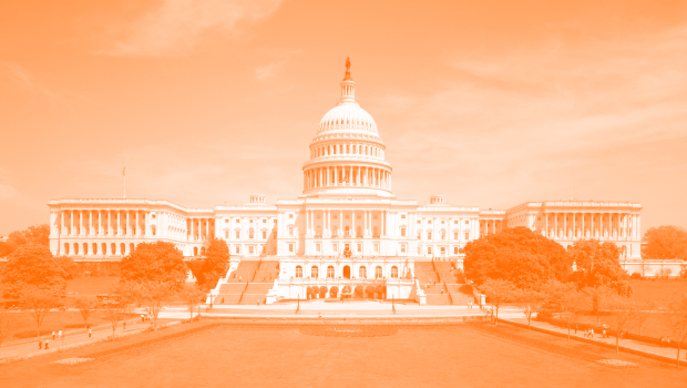 U.S. Capitol Building with orange screen