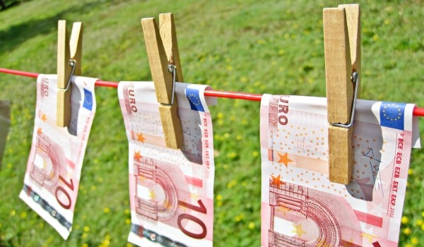 Euros on a washing line