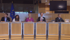Panelists speaking in European Parliament