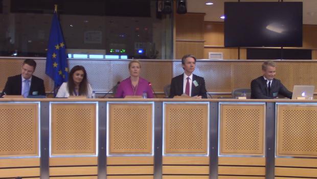 Panelists speaking in European Parliament