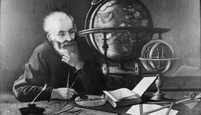 A philosopher (Galileo?) studying a celestial globe. Oil painting.