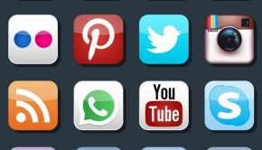 Vector social media icons. Pinterest and Instagram, Flickr and Whatsapp, Skype and LinkedIn